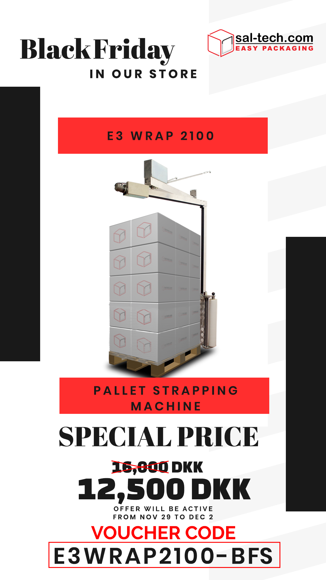 E3 Wrap 2100 Semi Automatic Pallet Wrapper With Height Sensor Pallet Wrapper Wrap