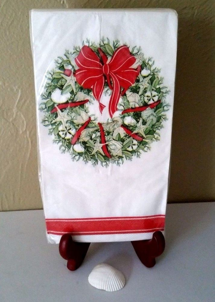Coastal Sanibel Christmas Guest Towels Buffet Paper Napkins Seashells 20 Ct Christmastreeshop Paper Guest Towels Christmas Tree Shop Guest Towels