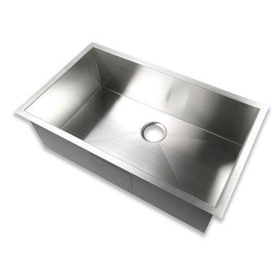 """Luxier 32"""" x 19"""" Undermount Single Bowl 16 Gauge Stainless Steel Handmade Zero Radius Kitchen Sink"""