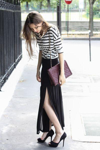 Parisian dreams #black #white #skirt