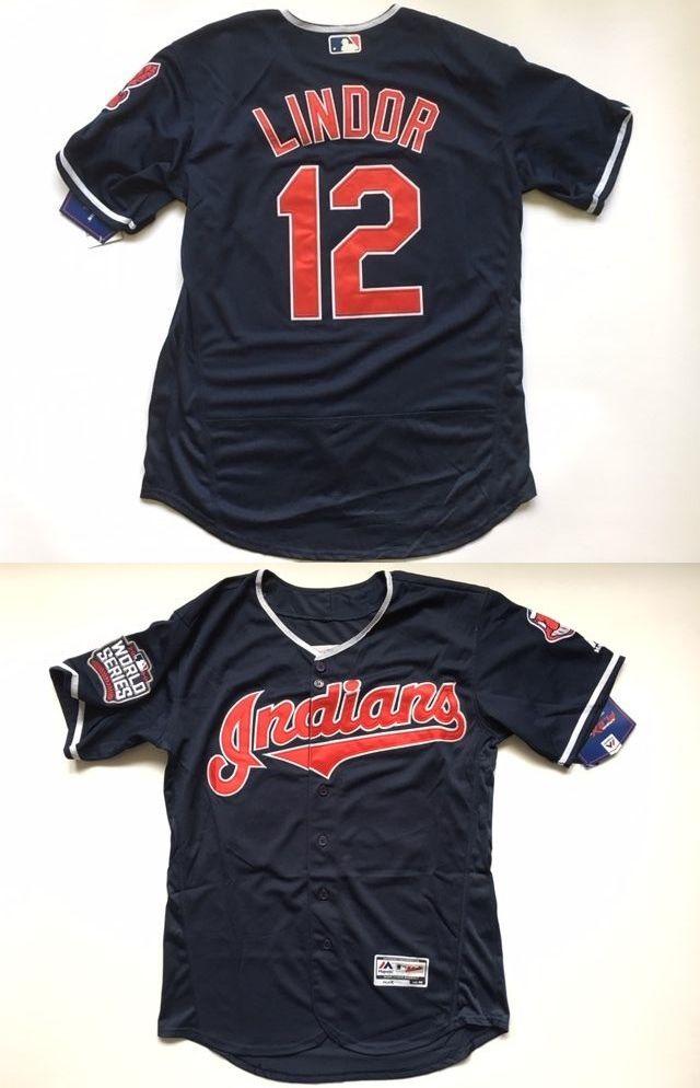 Baseball-MLB 24410: Francisco Lindor #12 World Series Cleveland Indians Jersey Men Size L -> BUY IT NOW ONLY: $57 on eBay!