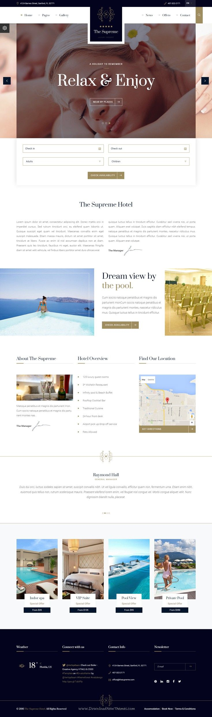 The supreme luxury hotel html5 css3 template hotel website the supreme luxury hotel bootstrap template the html files include a booking form with calendar an award section facilities events and offers and falaconquin