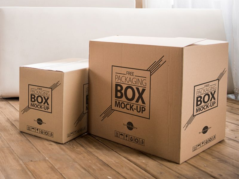 Download Free High Quality Packaging Box On Wooden Floor Psd Mockup Box Packaging Free Boxes Box Mockup