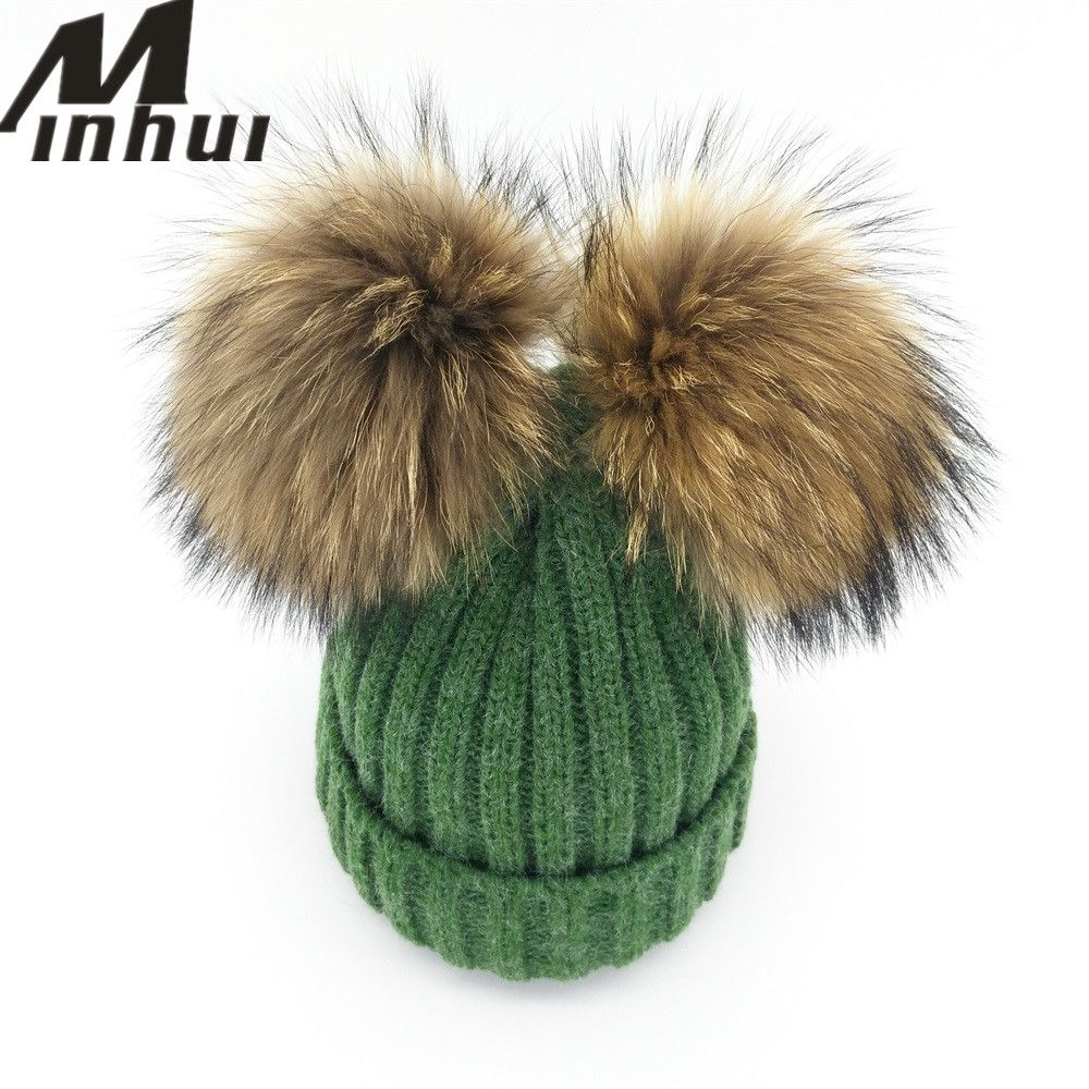Minhui New Real Mink Fur Pompom Hat Women Winter Caps Knitted Wool Cotton Hat  Two Pom Poms Skullies Beanies Bonnet Female Cap 4f9cdf3db