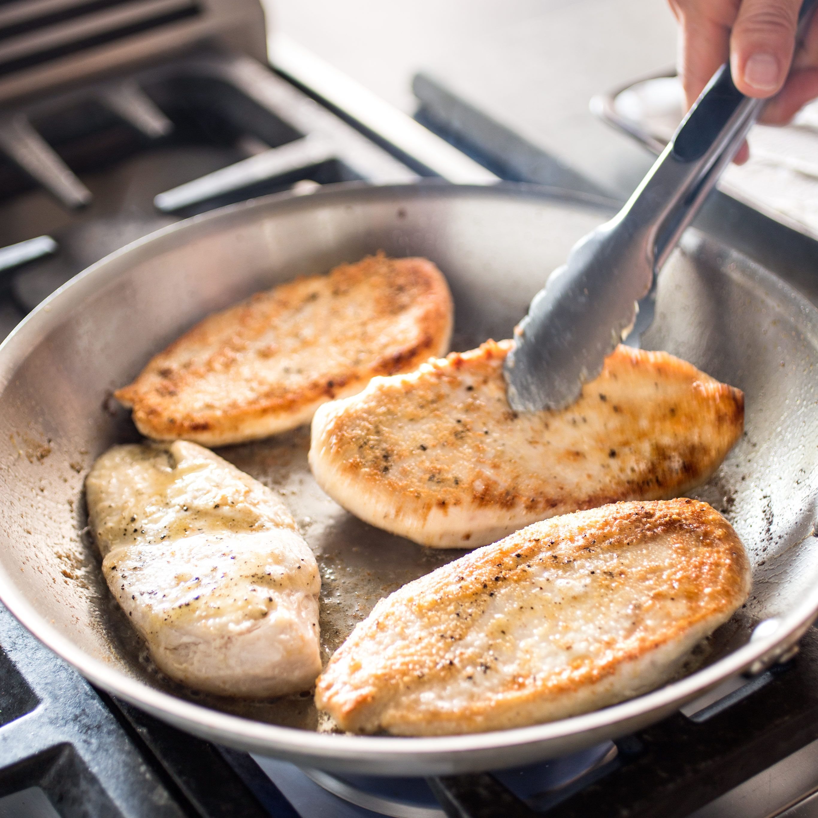 Exposing boneless, skinless chicken breasts to a hot pan often ...