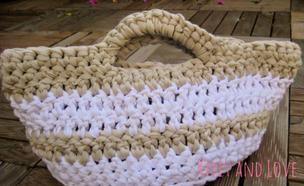 TUTORIAL CÓMO HACER CESTA CROCHET XXL CON TRAPILLO / Knit and Love