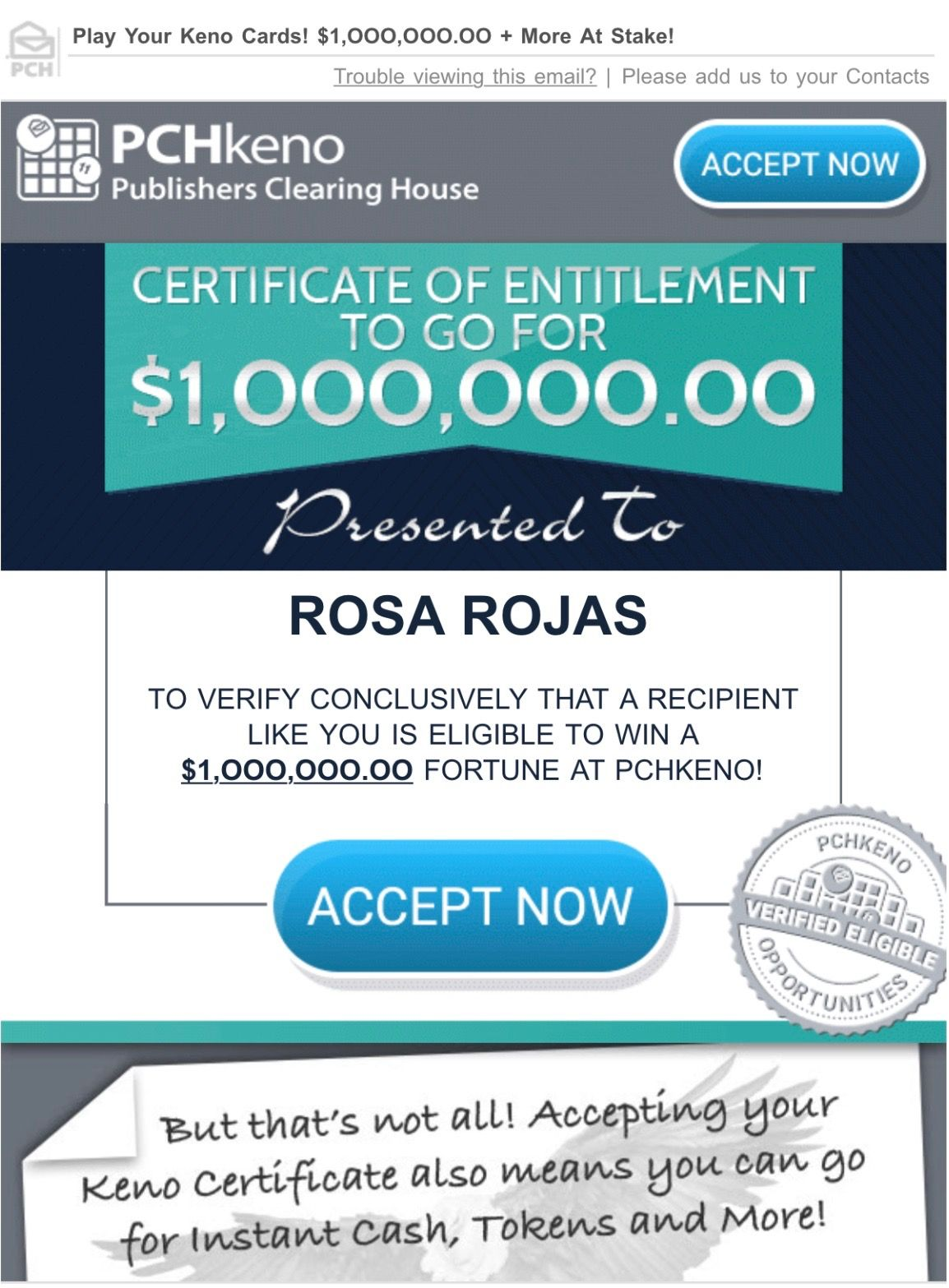PCH CERTIFICATE Of ENTITLEMENT TO GO FOR 1,000,000.00
