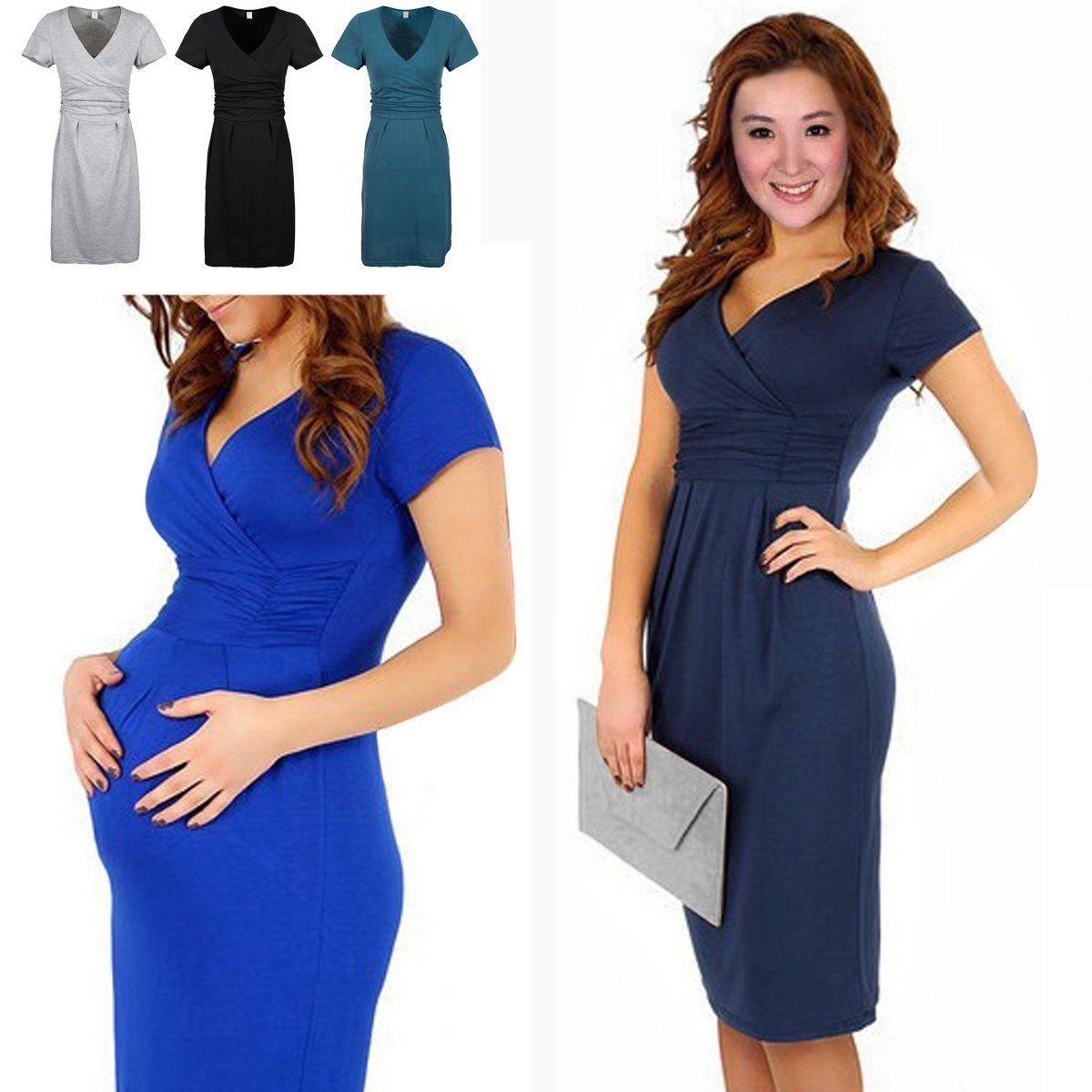 Pregnant fashion women maternity short sleeve casual dress cotton