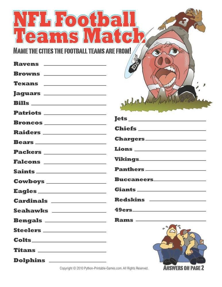 Ready, Set, Hike! Printable Football Games Nfl party