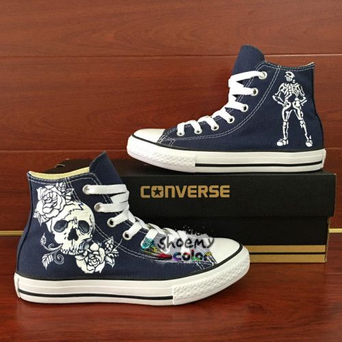 Hand Painted Shoes Skull Roses Blue Converse High Top Canvas