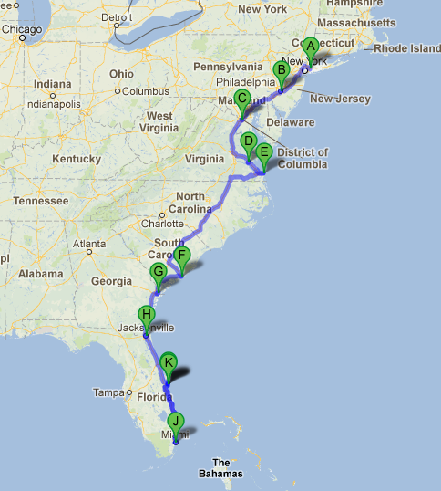 Road Map Of Us East Coast Road Trip Along The East Coast of USA | East coast travel, East