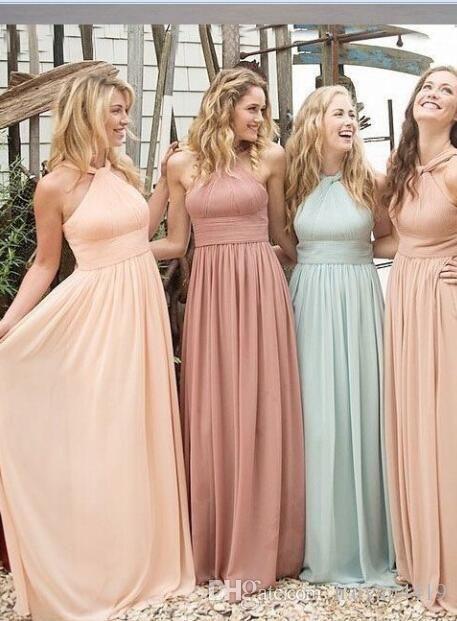 2016 New Summer Beach Bridesmaid Dresses Wedding Guest Wear Halter Long Floor Length Party Dress Plus
