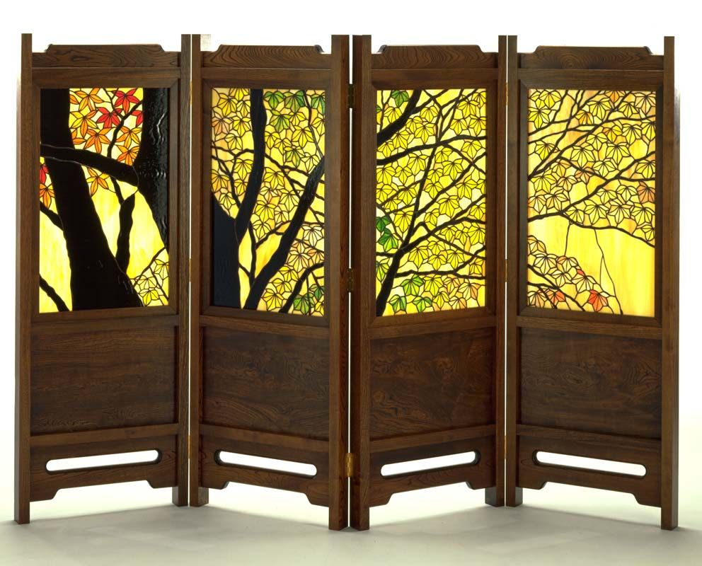Tashiro Stained Glass Autumn Leaves Decorative Screen
