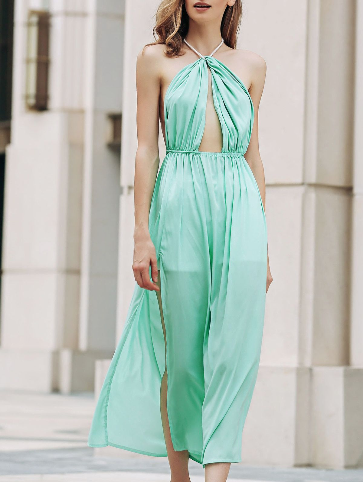 Backless halter cut out high slit long dress maxi dresses green