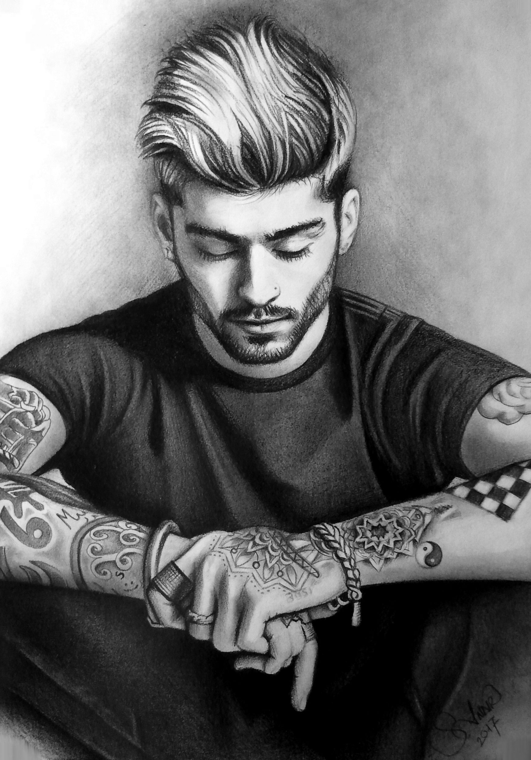 Zayn Malik Black And White Portrait