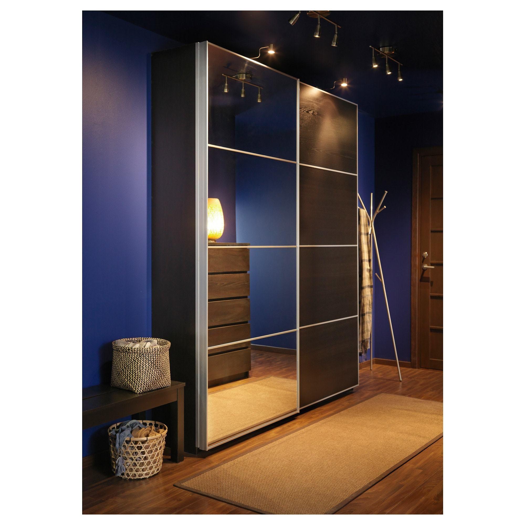 Pax Wardrobe Black Brown Auli Ilseng 200x44x236 Cm Ikea