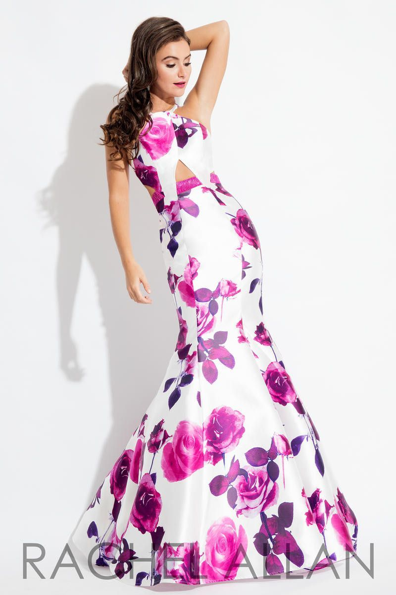 Rachel Allen 7622 Magenta Floral Prom dress, evening gown | Prom ...