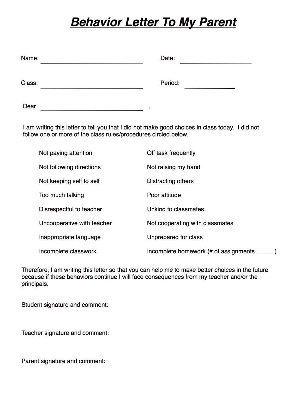 Behavior Warning Letter