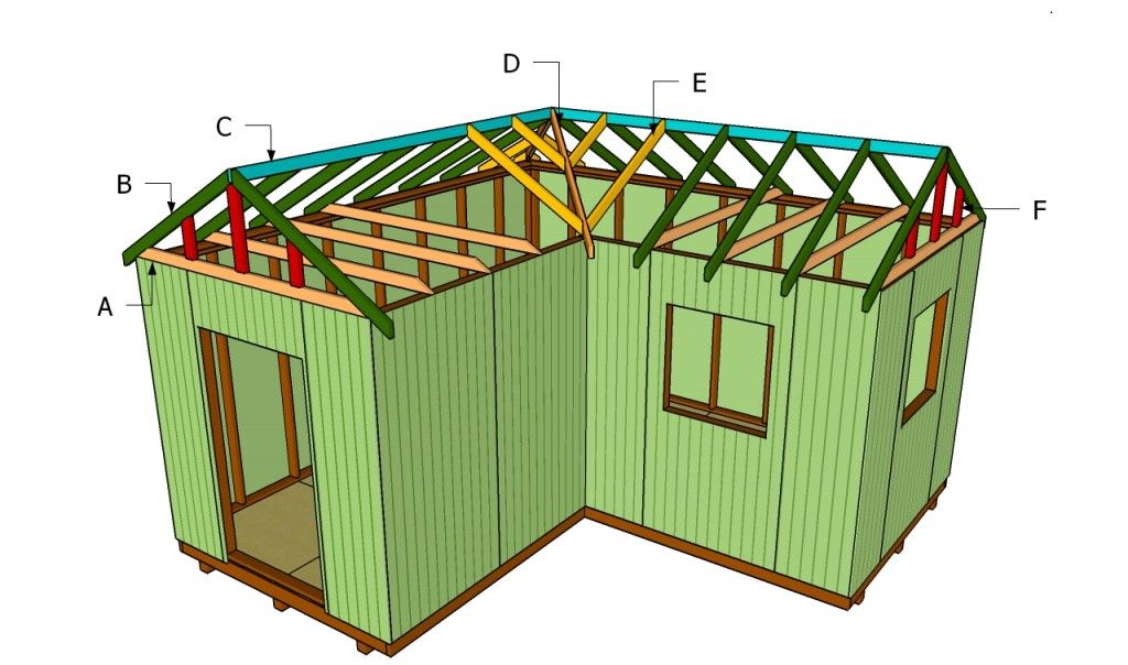 Building an l shaped roof outdoor shed plans free for How to roof a house step by step