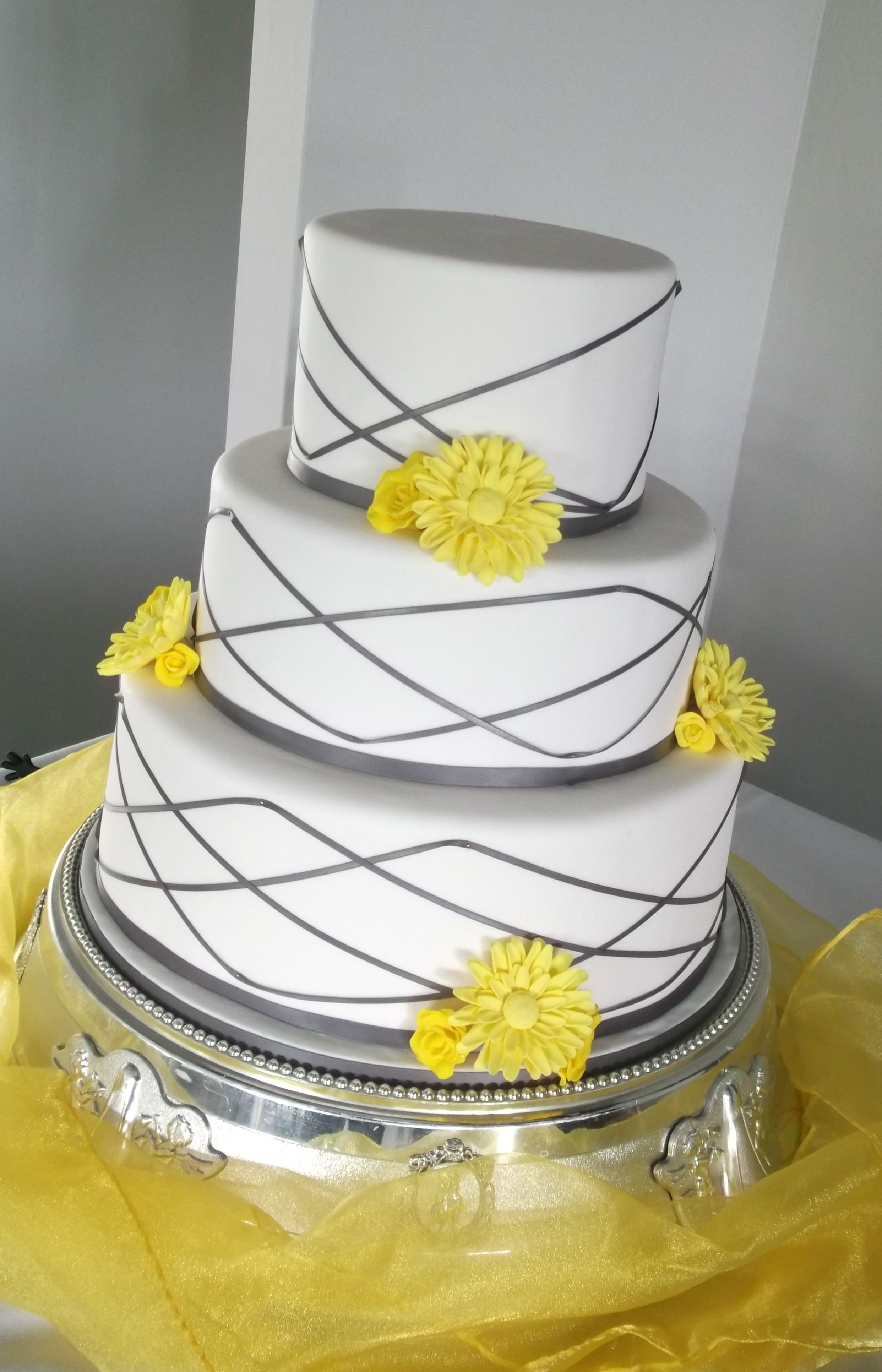 Yellow and grey wedding cake | Bake at One Eighty Cakes | Pinterest ...