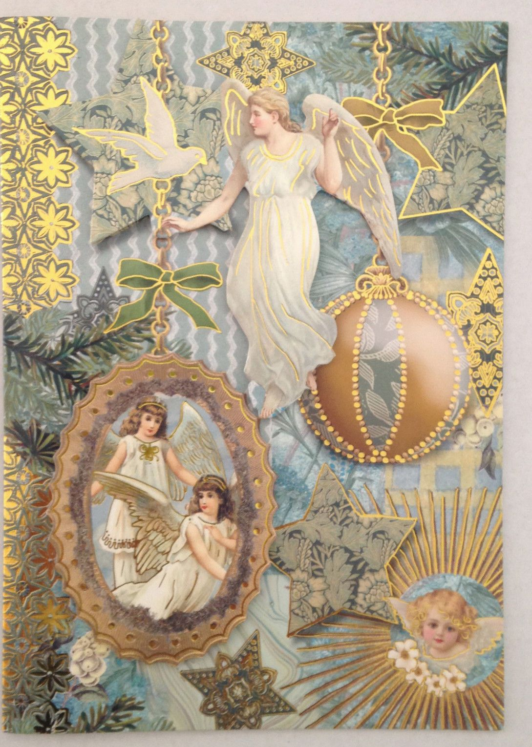 punch studio christmas cards set of 8 angels dimensional gold blue holiday ebay