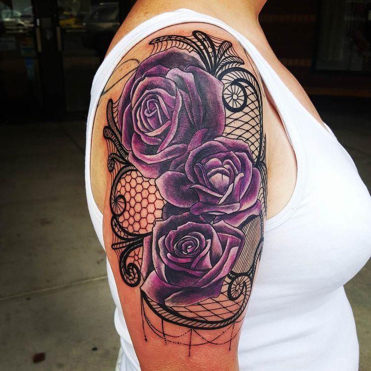 923e416f1 Purrrple! | Tattoo ideas | Lace tattoo, Rose tattoos, Lace tattoo design