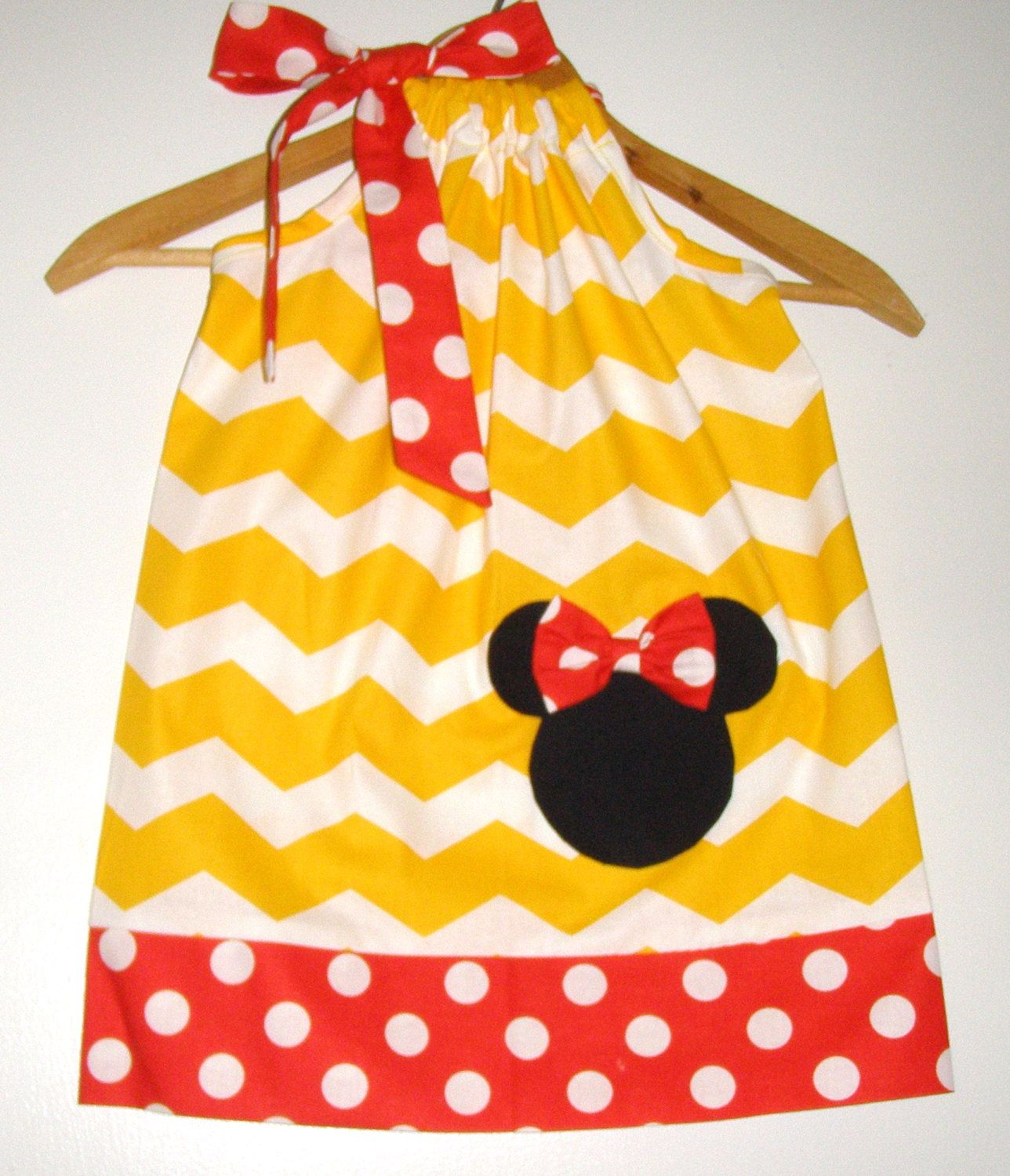 Minnie Yellow white chevron red dots pillowcase dress appliqued Disney clothing 3691218 months 2t 3t 4t5t6789101214