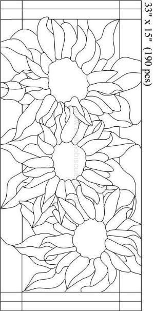Stained Glass Sunflower Pattern by zelma #StainedGlasses | Stained ...