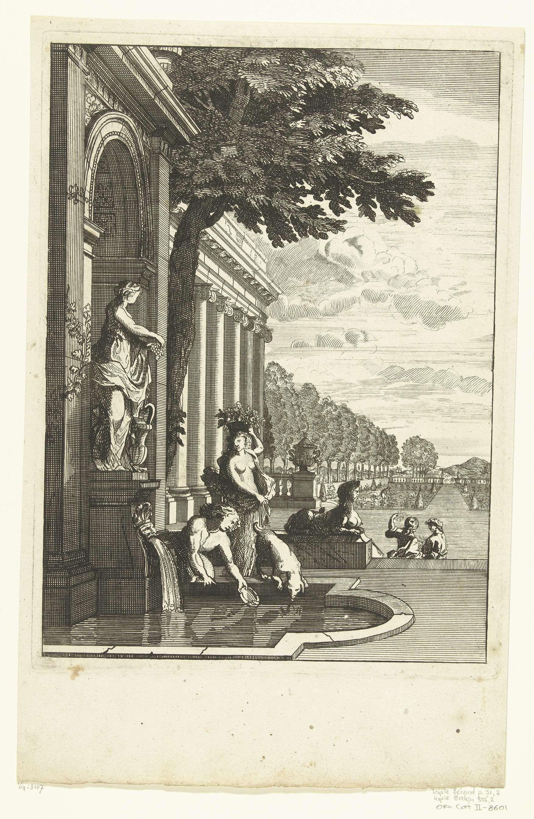 Daniël Marot (I)   Nis met standbeeld en bassin, Daniël Marot (I), Anonymous, Anonymous, after 1703 - c. 1725   Een man schept water uit het bassin. Op de achtergrond is een gebouw met Ionische zuilen zichtbaar. Kopie naar prent uit serie Troisième Lieure de perspectives.