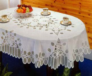 Amazon Com Battenberg Vinyl Lace Tablecloth 54 X72 Oval Home
