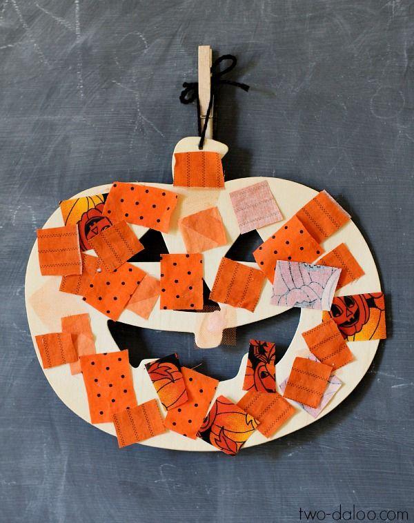 Make a Jack O'Lantern Collage with fabric scraps