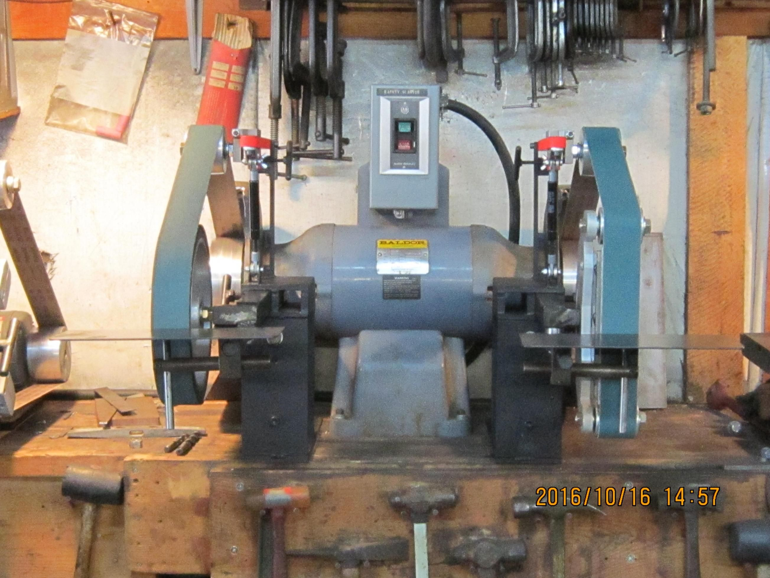 2 X 72 Double Belt Grinder Sander By Garycullen Wip Finally Got My Baldor 3 H P Double Grinder Al Belt Grinder Belt Grinder Plans 2x72 Belt Grinder Plans