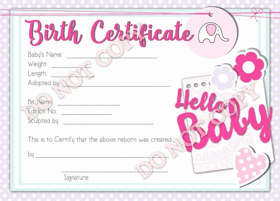 Baby Doll Birth Certificate Template New Reborn Doll Birth Certificate Girl Hello Baby Birth Certificate Template Birth Certificate Best Baby Doll