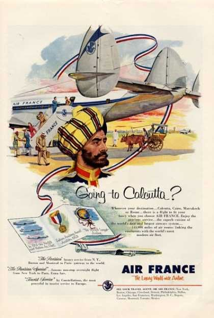 Going To Calcutta With Air France Air France Le Caire Affiche