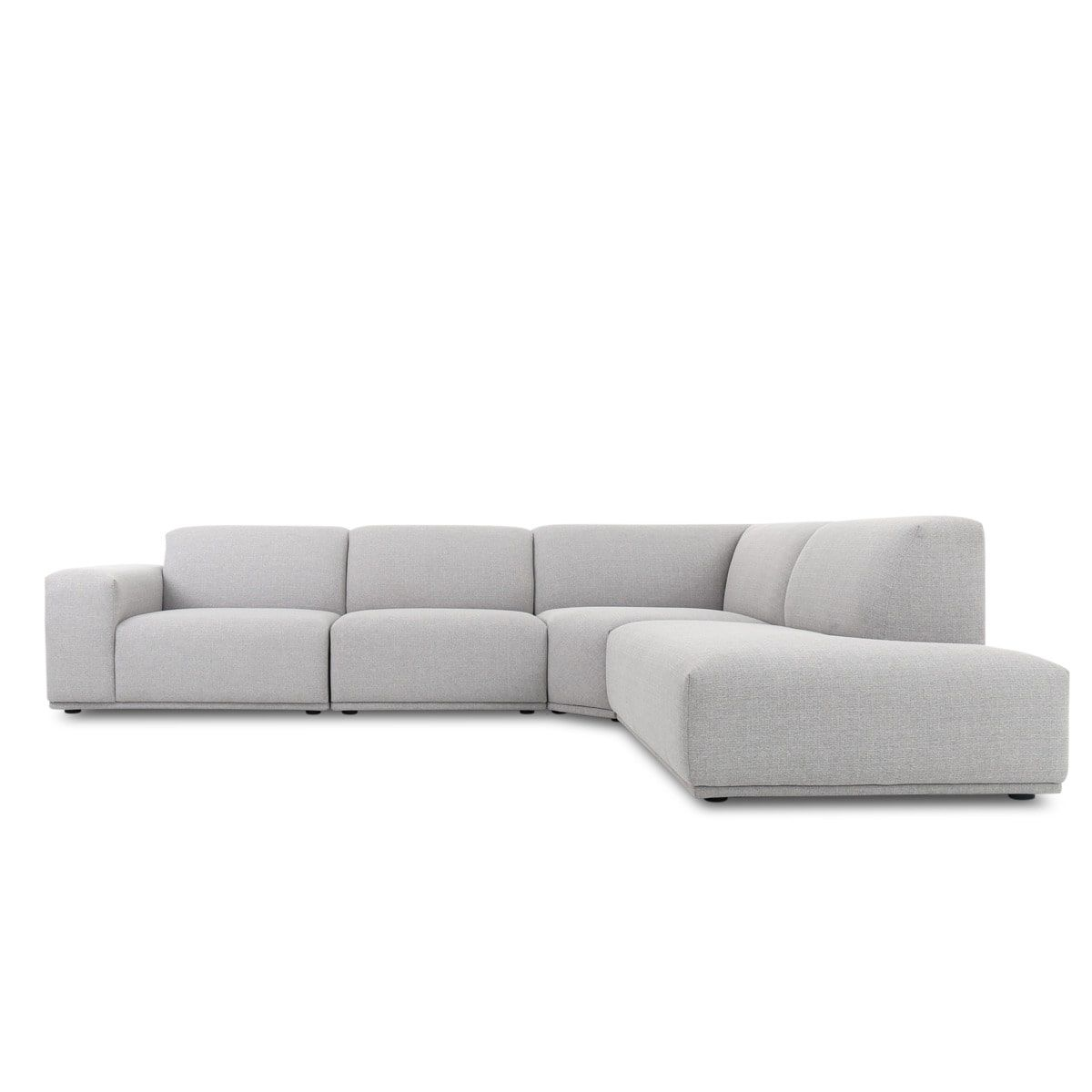 Todd Extended Sectional Chaise Sofa Modern Gray Fabric 111