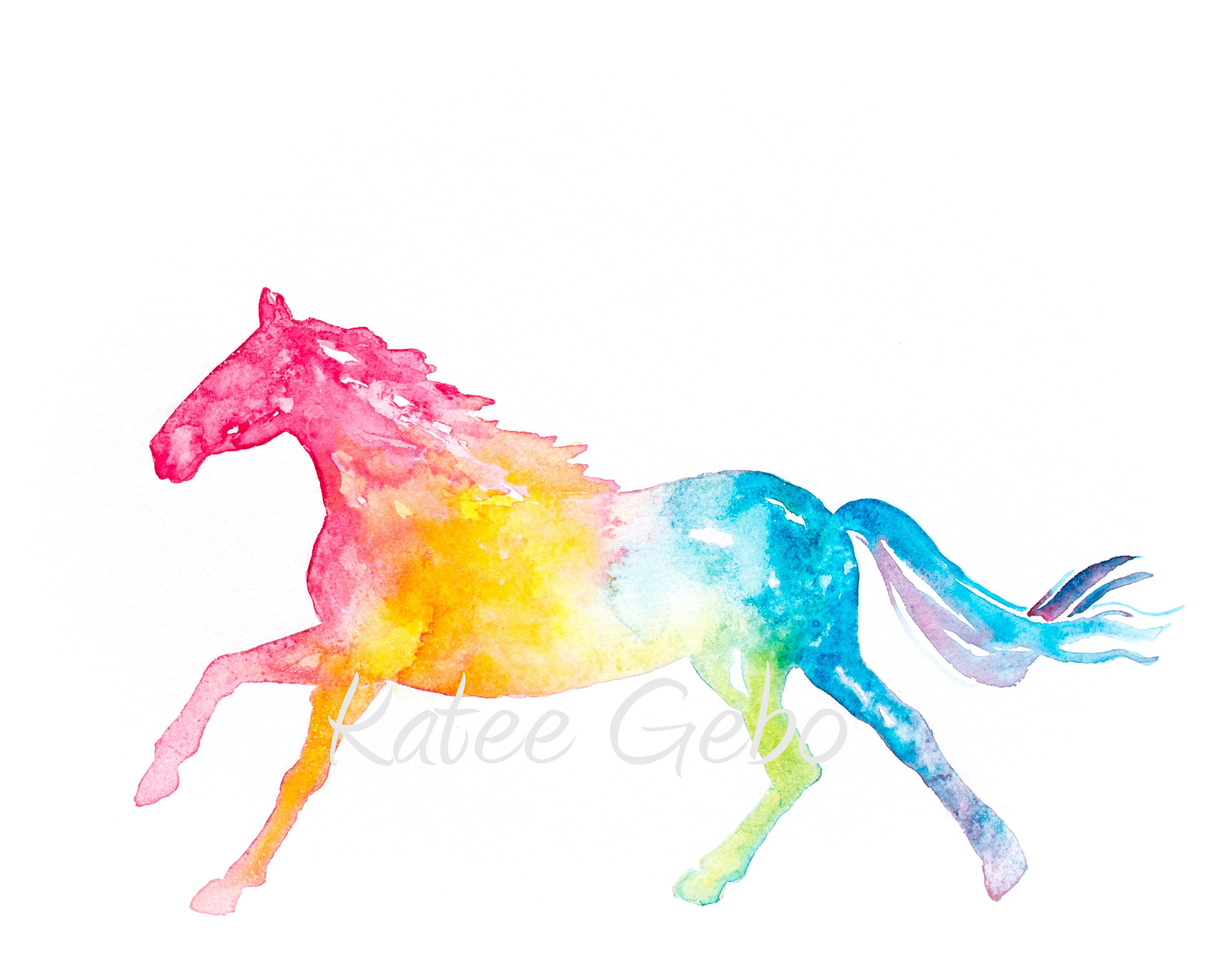 Horse Wall Art Watercolor Rainbow Colors Printable Digital Etsy In 2021 Horse Wall Art Watercolor Horse Painting Horse Painting