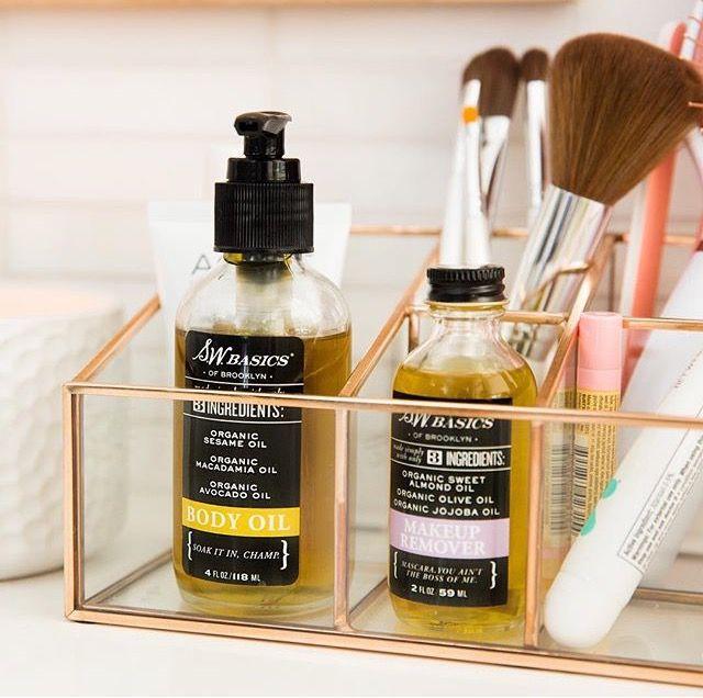 Use a pretty metal organization unit for overflow cosmetics