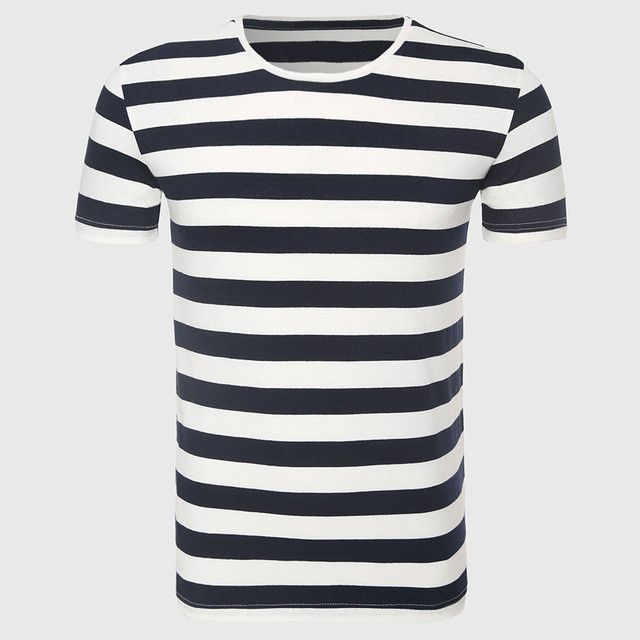 247ee098af Zecmos New Men Stripe T-Shirt Fashion O Neck Short Sleeved Slim Fit Blue  Striped T shirt Man