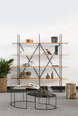 Zeus Slim Irony Bookcase Natural Wood Made In Design Uk