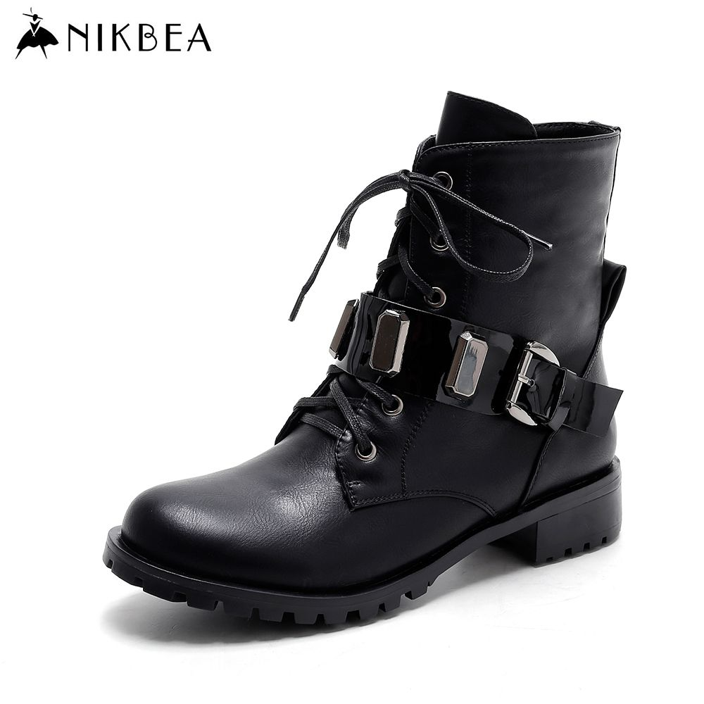 8059311dc1e3 Find More Women s Boots Information about Nikbea Brand Flat Ankle Boots for Women  Flat Handmade Punk Motorcycle Boots Fashion Black Women Short Winter Boots  ...