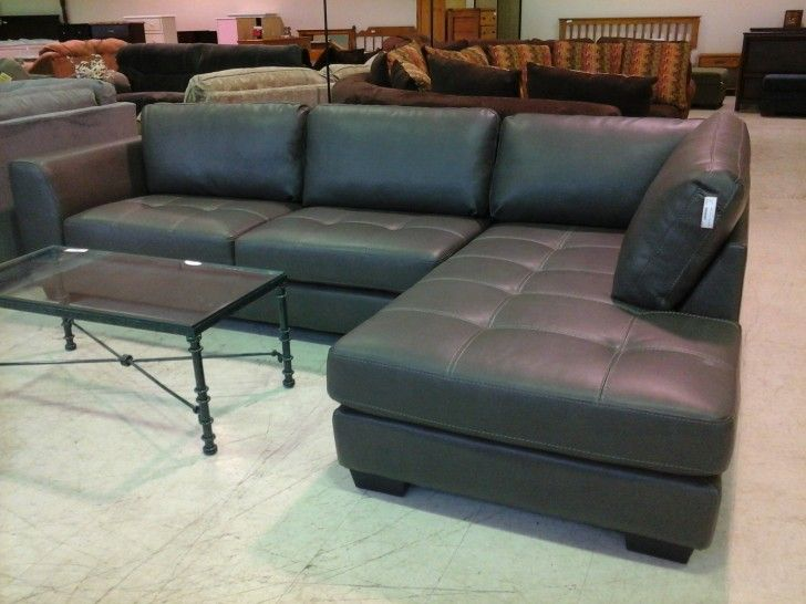 Furniture L shaped Grey Leather Sectional sofa with backrest plus