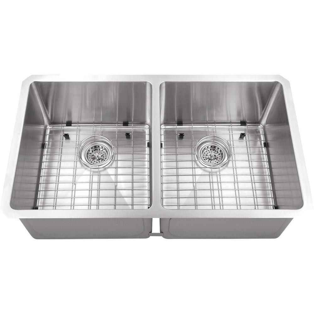 Schon All-in-One Undermount Stainless Steel 30x17x10 0-Hole Double ...
