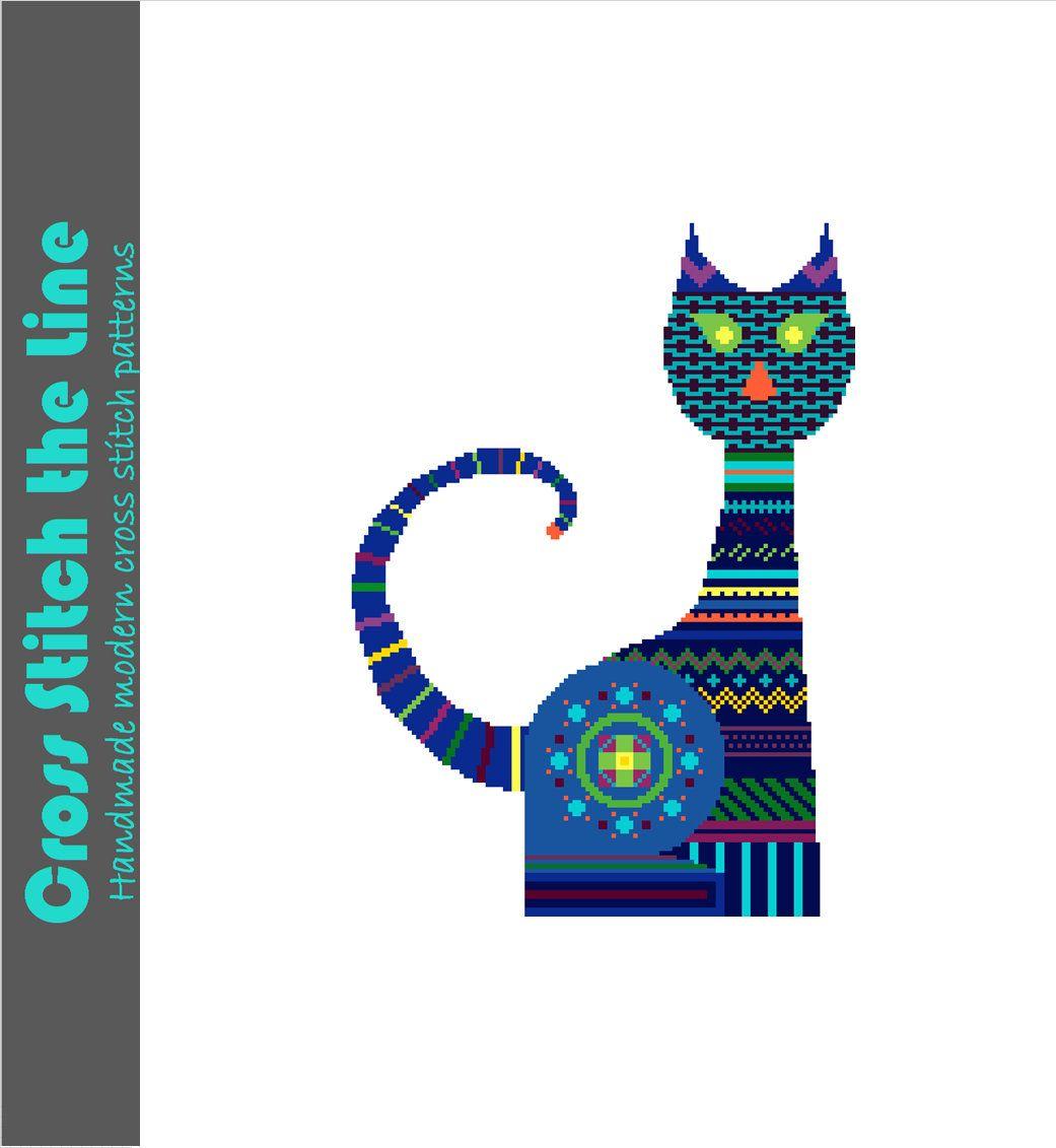 Modern tribal cross stitch pattern of a bright blue cat.