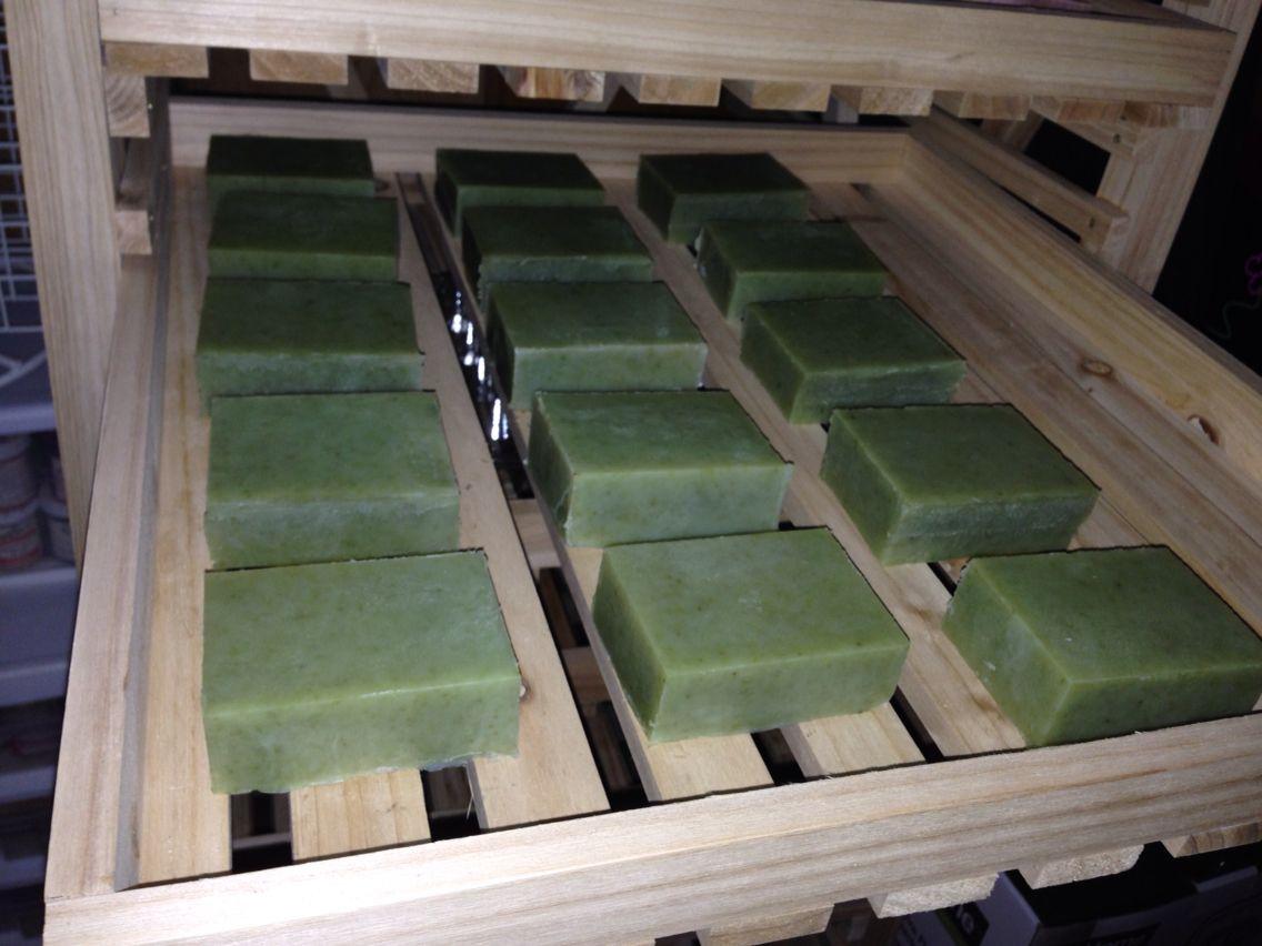 Mountain High Eucalyptus soap curing.
