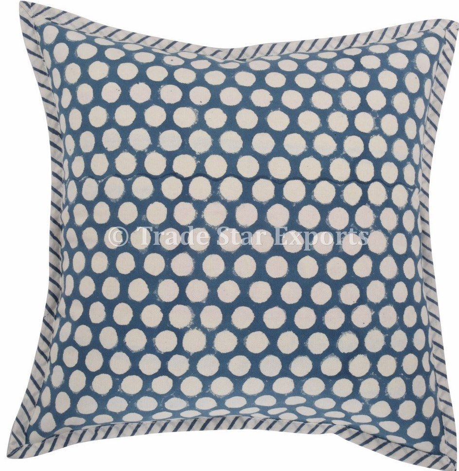 Indigo block print cushion cover x cotton pillows handmade