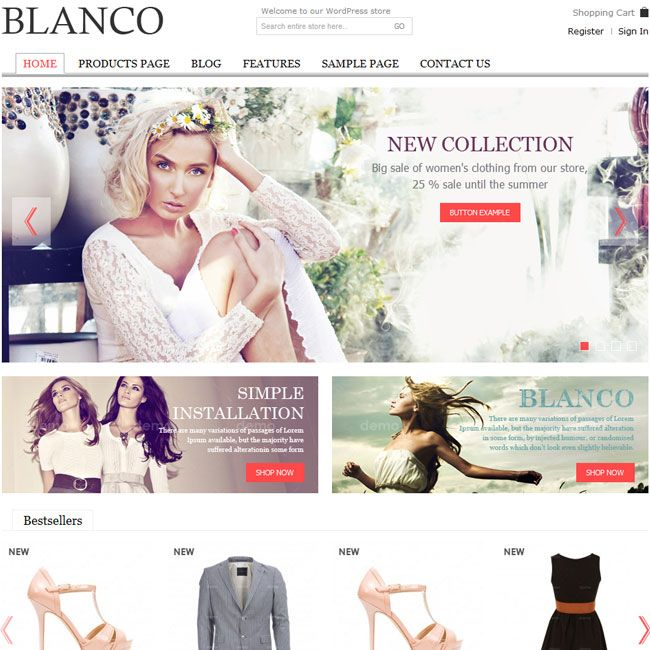 Wordpress E-Commerce Templates | Blanco Responsive Wordpress E Commerce Theme Best Wordpress