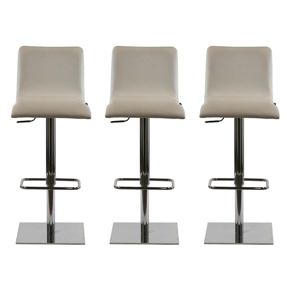 Set Of Three Rio Bar Stools By Copenhagen Has Chrome Square Base Center Tube And Footrest The Seat Ma White Leather Bar Stools Bar Stools Leather Bar Stools