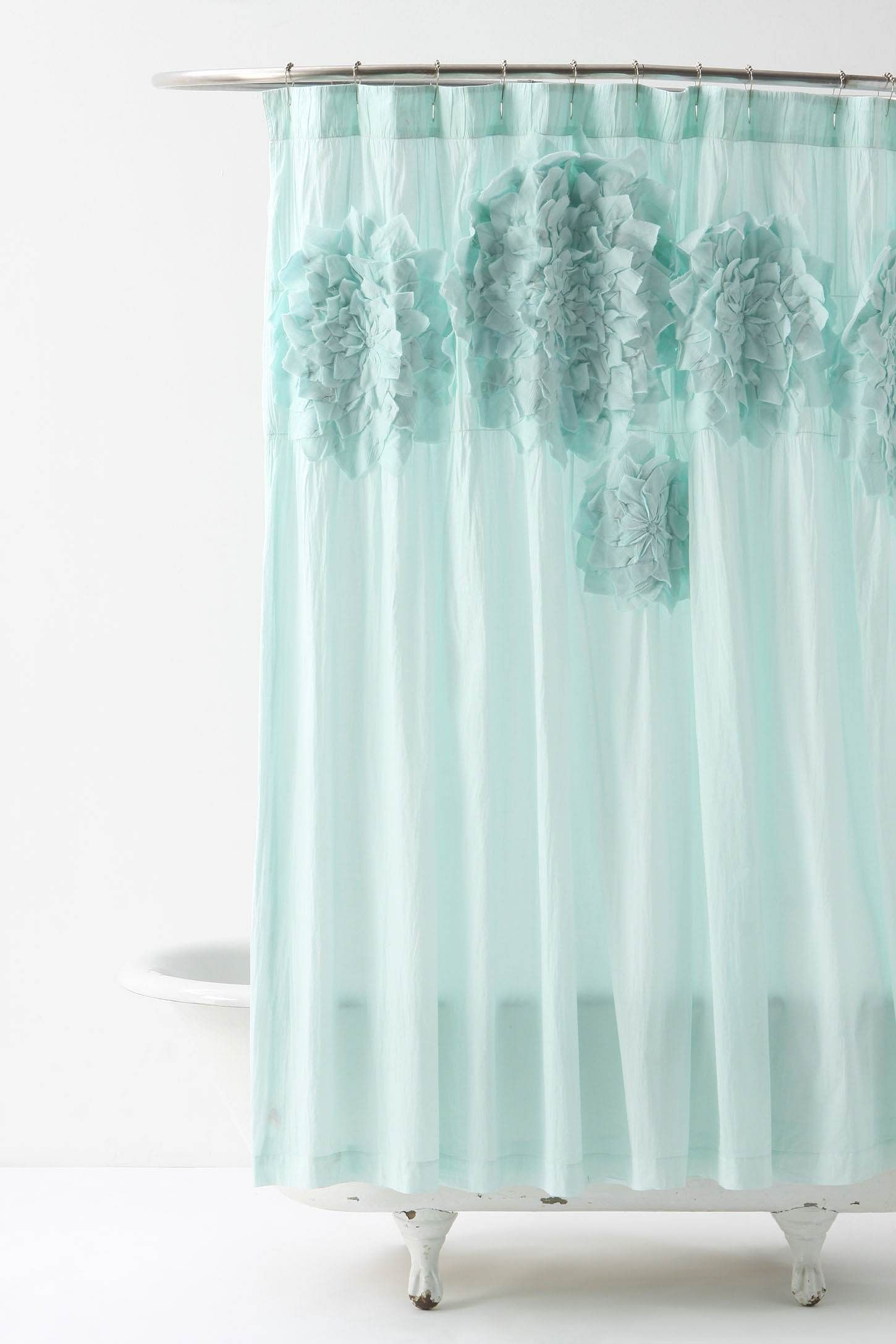 Sculpted Mums Shower Curtain Blue Shower Curtains Anthropologie