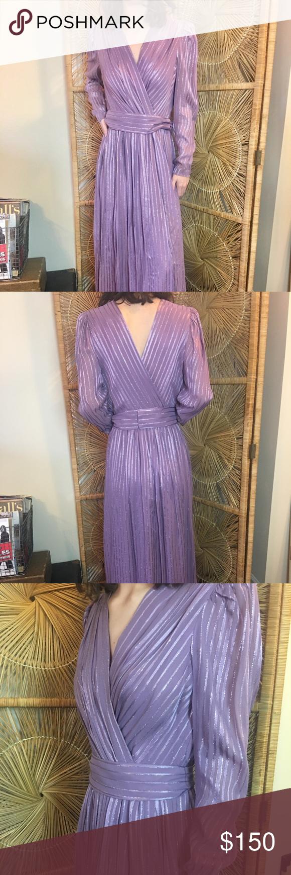 Vintage 70s Purple Silver V Neck Belted Maxi Dress Vintage Maxi Dress Dresses Vintage Dresses [ 1740 x 580 Pixel ]