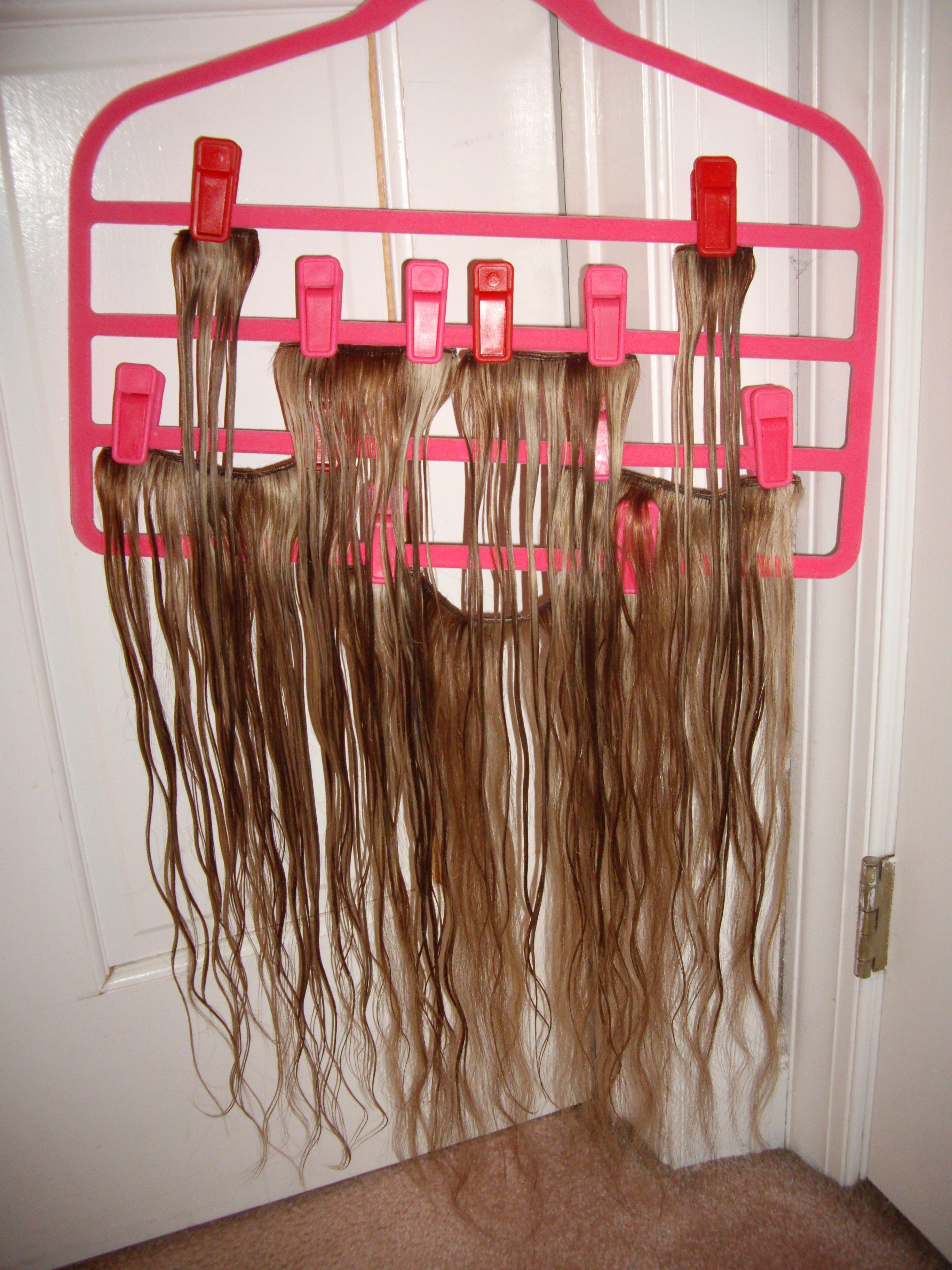 Convenient Drip Dry And Safe Storage For Clip In Extensions Using